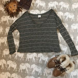 Tan and green stripped long sleeve crop top